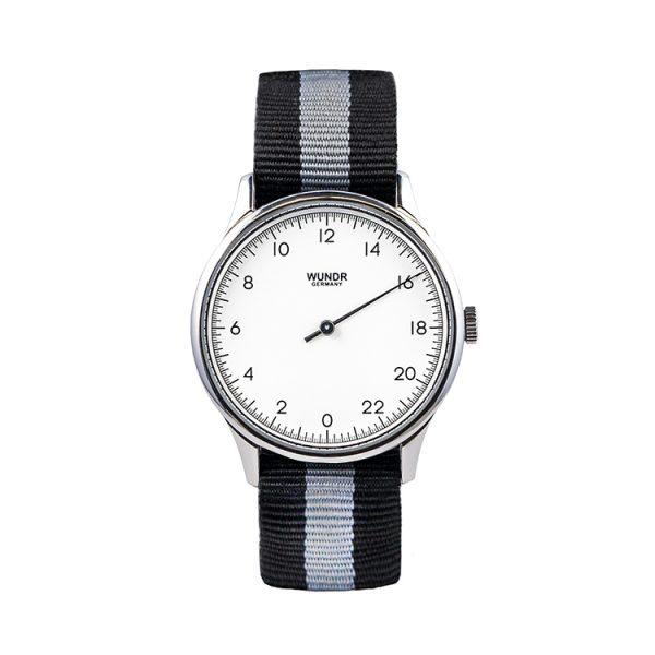 Wundrwatch Classic Silver - Nato Black Grey